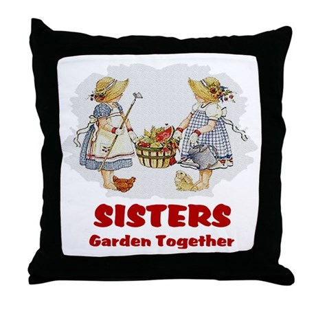 Sisters Garden Together Throw Pillow