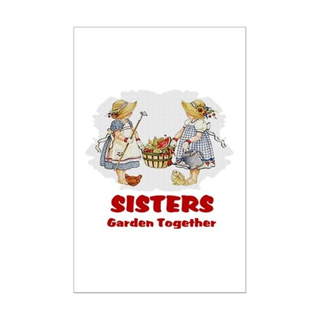 Sisters Garden Together Mini Poster Print