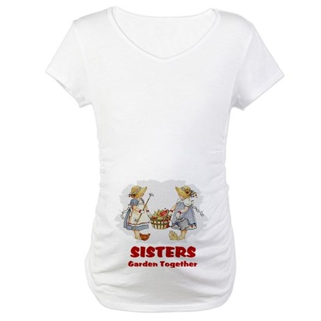 Sisters Garden Together Maternity T-Shirt