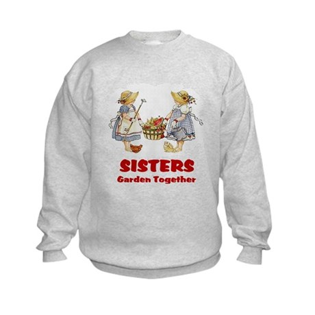 Sisters Garden Together Kids Sweatshirt