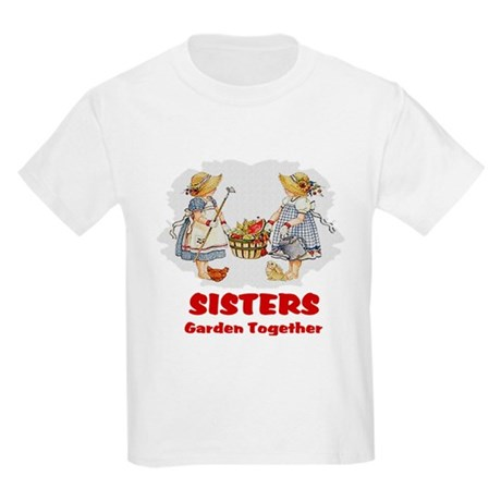 Sisters Garden Together Kids Light T-Shirt