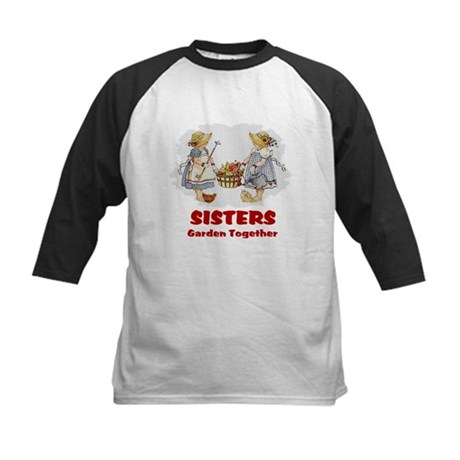 Sisters Garden Together Kids Baseball Jersey