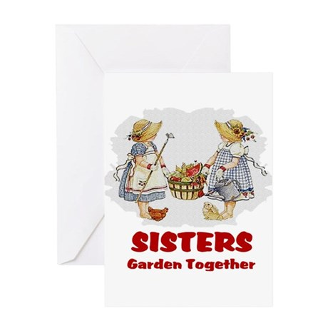 Sisters Garden Together Greeting Card