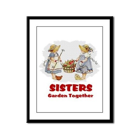 Sisters Garden Together Framed Panel Print