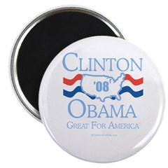 "Clinton / Obama 2008: Great for America 2.25"" Magn"