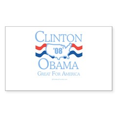 Clinton / Obama 2008: Great for America Sticker (R