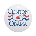 Clinton / Obama 2008 Ornament (Round)