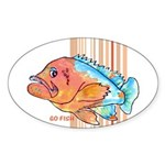 Cartoon Fish Grouper Oval Sticker