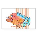 Cartoon Fish Grouper Rectangle Sticker
