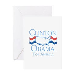 Clinton and Obama for America Greeting Card
