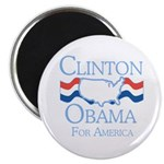 Clinton and Obama for America Magnet