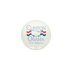 Clinton and Obama for America Mini Button (100 pac