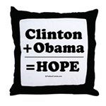 Clinton + Obama = Hope Throw Pillow