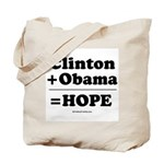 Clinton + Obama = Hope Tote Bag