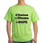 Clinton + Obama = Hope Green T-Shirt