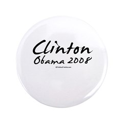 """Clinton / Obama 2008 3.5"""" Button (100 pack)"""