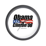 Obama Clinton 08 Wall Clock