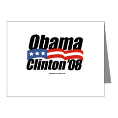 Obama Clinton 08 Note Cards (Pk of 20)