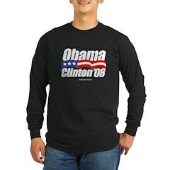 Obama Clinton 08 Long Sleeve Dark T-Shirt