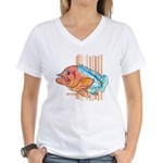 Cartoon Fish Grouper Women's V-Neck T-Shirt