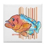 Cartoon Fish Grouper Tile Coaster