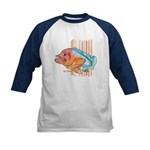 Cartoon Fish Grouper Kids Baseball Jersey