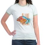 Cartoon Fish Grouper Jr. Ringer T-Shirt