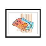 Cartoon Fish Grouper Framed Panel Print