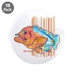 "Cartoon Fish Grouper 3.5"" Button (10 pack)"