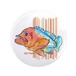 "Cartoon Fish Grouper 3.5"" Button"