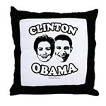 Clinton + Obama Throw Pillow