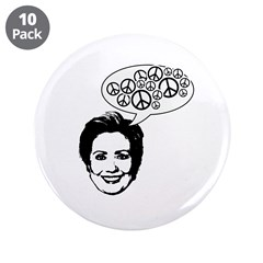 "Hillary 2008 for peace 3.5"" Button (10 pack)"