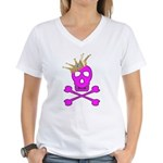 Pink Pirate Royalty Women's V-Neck T-Shirt
