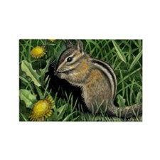 Chipmunk and Dandelions on Refrigerator Magnet