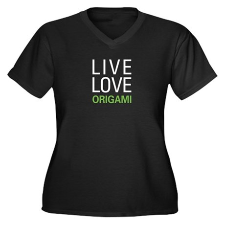 Live Love Origami Women's Plus Size V-Neck Dark T-