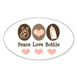 Peace Love Bottle Oval Sticker