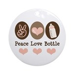 Peace Love Bottle Ornament (Round)