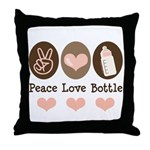 Peace Love Bottle Throw Pillow