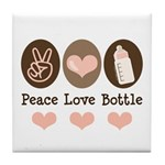 Peace Love Bottle Tile Coaster