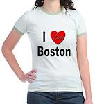 I Love Boston (Front) Jr. Ringer T-Shirt