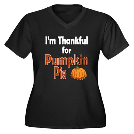 Thanksgiving Pumpkin Pie Women's Plus Size V-Neck