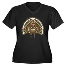 Fall Turkey Women's Plus Size V-Neck Dark T-Shirt
