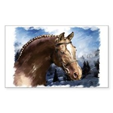 Winter Stallion, Happy holida Sticker (Rectangular