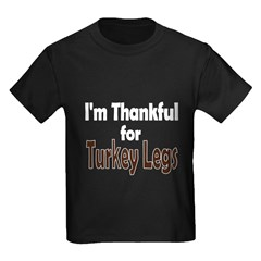 Thanksgiving Turkey Leg Kids Dark T-Shirt