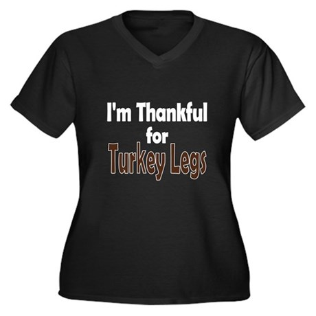 Thanksgiving Turkey Leg Women's Plus Size V-Neck D