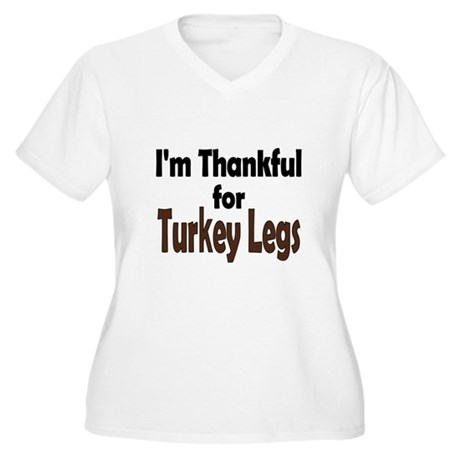 Thanksgiving Turkey Leg Women's Plus Size V-Neck T