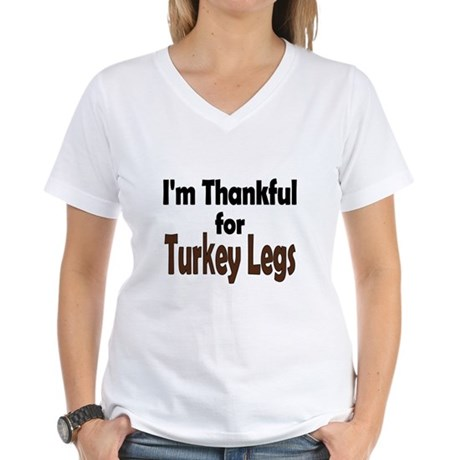 Thanksgiving Turkey Leg Women's V-Neck T-Shirt