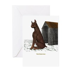 Red Doberman Greeting Card