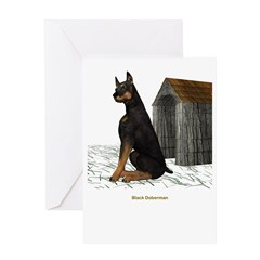 BlackDoberman Greeting Card