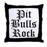 Pit Bulls Rock Throw Pillow